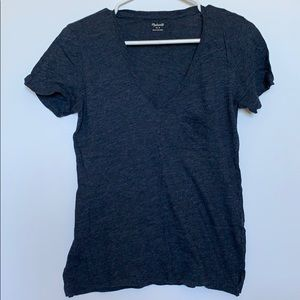 Madewell Blue V-Neck Tee